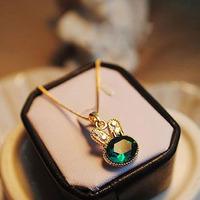 Accessories onrabbit chain green full rhinestone rabbit crystal necklace small
