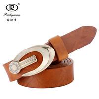 2015 new arrival top fashion hot sale belts handmade cowhide alloy head brand women 100% genuine leather lady belt