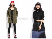 Medium Style Women Overcoat Turn-down Collar Zipper Design Women Loose Coat Jacket Black/Army Green Free Size FS3100