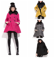 Candy Colors Women Winter Woolen Jacket Plus Thick Warm Coat Turn-down Collar Medium Style Overcoat 4 Colors Free Size FS3090