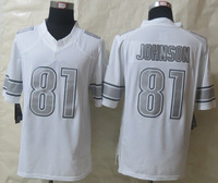 Free Shipping 2014 New #81 Johnson Platinum White Limited Jerseys size 48-56 mix order
