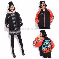 Plus Thick Mic-leather Women Warm Winter Parka Hiphop Woolen Hooded Design Women Coat Jacket Black/Orange Free Size FS3107