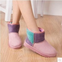 Winter boots and female boots boots with flat short tube color matching cotton shoes in color with flat shoes, winter boots