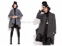 Hot Sales Irregular Design Women Winter Woolen Jacket Medium Style Black/Gray Warm Cardigans Coat Free Size FS3087