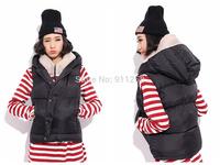Hot Sales Women Winter Warm Vest Slim Fit Sleeveless Parka Down Vest Black Free Size FS3110