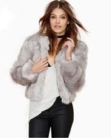 Free Shipping 2015 New Winter Women Faux Fur Coats Silver Grey Turn Down Collar Short Fur Outwears Good Quality casaco de pele