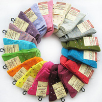 20pcs=10pairs/lot Women's Socks Solid Color Love Candy Color Dot Sock Women's Thin Sock Mix Color Free Shipping