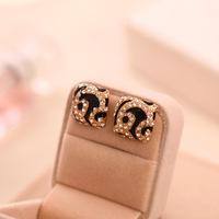 Accessories fashion leopard print rhinestone stud earring earrings
