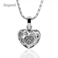 Hot Sale Fine Jewelry 18K Real Gold Plated Hollow Heart Pendant Necklace For Women Fashion 18K Golden Heart Jewelry