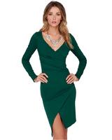 Best Quality 2014 Winter Women's Long Sleeve V-neck Elegant Casual Formal Work Evening sexy Green slit Dress Plus Size vestidos