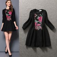 Best  Quality!New Fashion Winter Dress 2014 Women Floral Embroidery  Vintage Retro Black Dress Wool Warm Dress European America