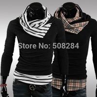 Autumn Aan Winter Men T-Shirt Knitted Sweater Long Sleeve Plaid Collar With Striped Collar T-Shirt Men T-Shirt Free Shipping