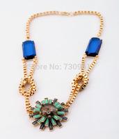 Hot sale Brand Design western style multi-layer Weave Rhinestone Flower  necklace jewelry statement Necklace