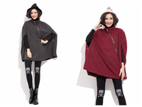 Burgundy/Gray 2 Colors Women Woolen Cloak Medium Style Loose Coat Overcoat Woman Clothes Inclined Zipper Free Size FS3103