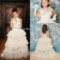 2014 New Arrival Ball Gown Flowers Layered Lace Chiffon Flower Girls Dress Girls Pageant Dress Wedding Part Dress 2015 FM05004