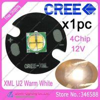Cree Easywhite XML XM-L U2 4Chip Warm White 3000K-3500K 12V 10W High Power LED Emitter Bead d on 16mm Heatsink for Flashlight