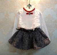 girls clothes White lace top red tie pendant + gray bitter fleabane bitter fleabane skirt children clothing free shipping