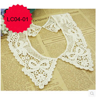 Free shipping 2pairs/lot high quality cotton lace neckline ,bowknot pattern lace collar, Craft garment accessory