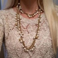 Statement Super Long Diy Multi Pearl Pendant Necklace Choker Chunky Bead Punk Blogger Goth Punk