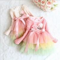 2015 new girl dress Long sleeved girls lace colour bow dress Korean children princess dresses,14NOV108