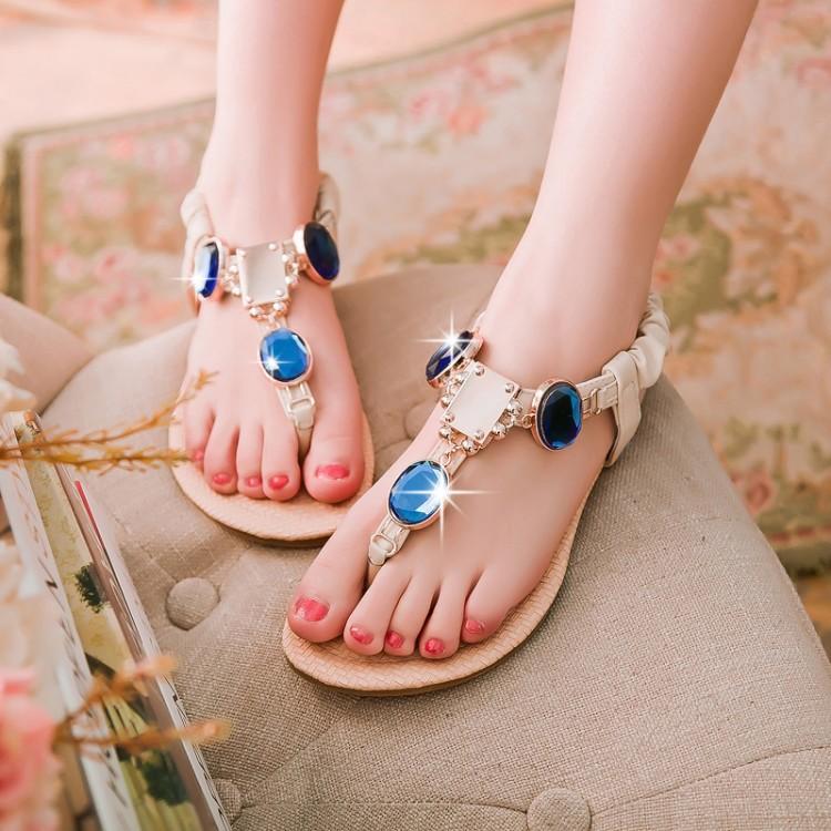2015 new summer shoes women sandals fashion woman flats casual shoes Rhinestone Flip Flops flat shoes Free Shipping