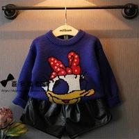 New super cute cartoon girls autumn/winter 2014 shoulder loose pullover sweatshirts