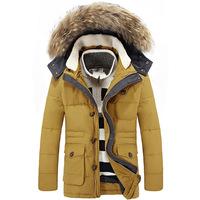 NEW winter men's fashion casual long sections Slim Down Jacket Detachable Big Fur Hood Down Coat Outwear White Duck Down Parkas