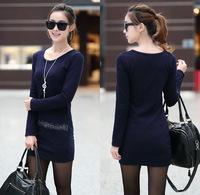 Autumn Winter New Designer Long Sleeve  Thickening Render Dress for Women Package Hip Mini Pencil Dress Freeshipping  WZA446