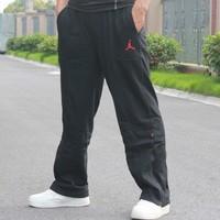 Jet-set 100% thin cotton basketball sports plus size sports pants long trousers man