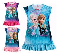 Hu Sunshine Retail 2014 New FROZEN Elsa and Anna girl girls short sleeve pajamas nightgown sleepwear nightie dress children
