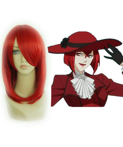Mulheres Sexy peruca vermelha para Anime Cosplay dos desenhos animados Hot Black Butler MADAME ROUGE Bob penteado(China (Mainland))