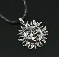 Sun & Moon Face Yin-Yang Pewter Pendant Chain necklace Fashion Boy Man Woman