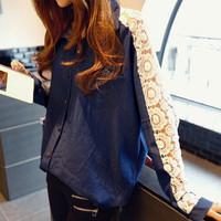 Hot Sale Korean Style Women Buttons Denim Shirt 2014 Ladies Jeans Blouse Long Sleeve Batwings Lace Tops Cowboys Clothing