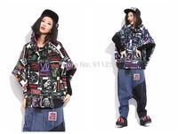 Half-sleeve Women Hoodies Colorful Skull Printing Loose Hooded Jacket Coat Black/ Blue 2 Colors Free Size FS3083