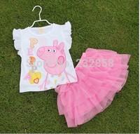 2014 Summer pink pig suit sportwear T-shirt + skirt suit suit for girls children suit