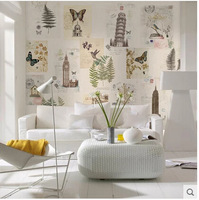 Free shipping American sitting room bedroom yellow background wall paper art restores ancient ways set