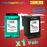 (1Pair) Reman Inkjet for hp129 hp135 C9364HE C8766HE Printer Ink Cartridge for hp 129 hp 135