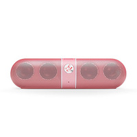 RedFox Capsule Shaped Bluetooth Wireless Portable Speaker System, Clear Sound with Bass. Pink