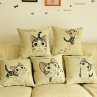 Cheese cat fluid pillow sofa car cushion ofhead cartoon linen waist support cushion