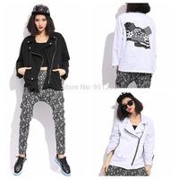2014 Autumn Winter Stylish Printing Women Casual Coat Washed Jean Denim Jacket Coat White/ Black 2 Colors Free Size FS3098