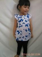 Retail new summer dress girl child Printed full butterfly design T-shirts Girls brand shirt