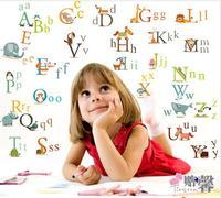 877 130*120cm new cartoon kindergarten of letters kids room wall stickers wholesale, custom removable