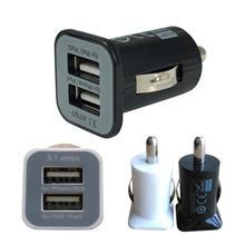 Micro Auto Universal Dual 2 Port USB Car Charger For iPhone iPad iPod 3.1A Mini Car Charger Adapter / Cigar Socket(China (Mainland))