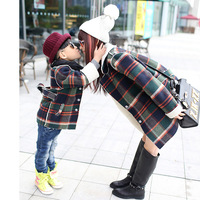 Free shipping! Family fashion winter 2014 plaid woolen outerwear male female clothes for mother and child