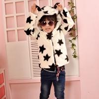 New 2014 cute kids girls winter coat autumn fashion faux fur coat long sleeve children outwear baby jacket Hooded Cotton Coats