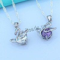 Free shipping!!!925 Sterling Silver Pendant,Punk Style, with Cubic Zirconia, Swan, platinum plated, faceted, mixed colors
