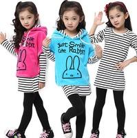2015 Three-piece Girl Clothing Set Kid Baby Outwear Children Hoodies Sweatshirt+Pants+Vest Casual Winter Autumn Top Quality K027