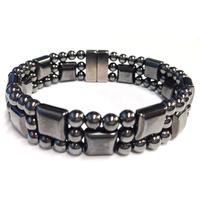2014 New High Quality Beautiful Semi Precious Stone Hematite Bracelet 3 strands Handmade Magnetic Bracelet