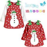 Free shipping Christmas dress Cartoon cute long-sleeved button- dot bow Christmas Snowman Dress children clothes