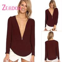 ZEADOR Open Front Chiffon Top Solid Zipper Full Sleeve Women Blouse New Design Fashion V Neck Pullover